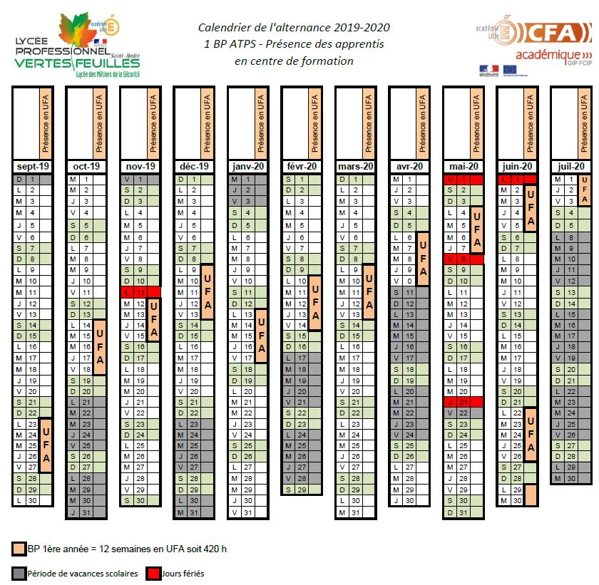 Calendrier Cfa 2020 2019.Calendrier De L Alternance 2019 2020 Des 1bp Atps 1ere
