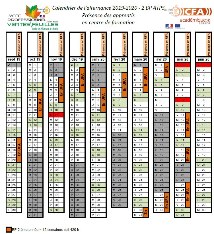Calendrier Cfa 2020 2019.Calendrier De L Alternance 2019 2020 Des 2bp Atps 2eme